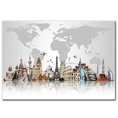 Quadri e Stampe di FAMA Mondiale, edilizia e Arte murale Mappa dell'attrazione turistica Mondiale Quadri su Tela Quadri Immagini Moderne Decorazioni per la casa 40x60cm Senza Cornice