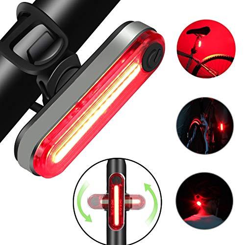 asbter Luz Bicicleta Trasera, Led Bicicleta Recargable USB, Potente LED Faro Trasero Bici Lámpara Luz Alerta Impermeable y Fácil de Instalar
