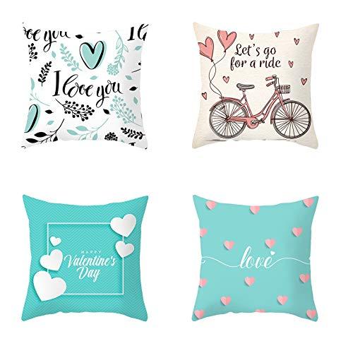 Hunpta @ 4 Stück Valentinstag Kissenbezug Herzförmiges Muster Kissenhüllen Kopfkissenbezug für Wohnzimmer Schlafzimmer Sofa Zuhause Büro Deko Zierkissenbezüge mit Reißverschlüsse