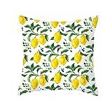 Beydodo Cojines para SofaRamas de Limón,Fundas Cojines 45x45 Fundas de Cojines Decorativos para Cama Amarillo Verde Blanco