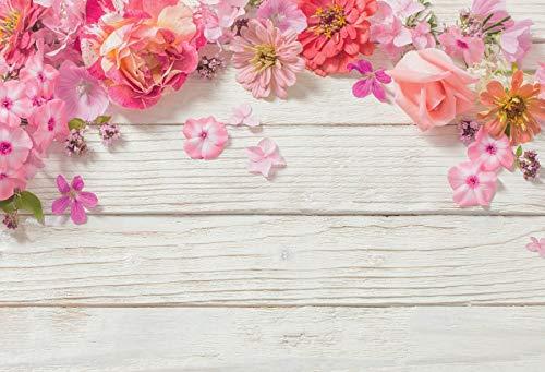 Fondo de Madera para fotografía Tablón de Flores de Primavera Tablero de pétalos Pet Child Digital Photo Studio Props Fondos fotográficos A7 7x5ft / 2.1x1.5m
