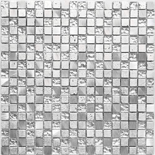 Mosaikfliese Transluzent Aluminium silber Glasmosaik Crystal Alu Resin silber MOS92-0202