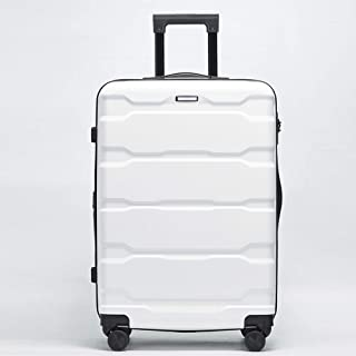 IhDFR Luggage 20 inch Zipper Trolley case Mute Hard Shell Durable Expandable Large Capacity Universal Wheel Scratch-Resistant Travel 24 inch (Color : White, Size : 20 inches)