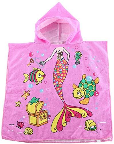 Ruiuzioong Kinder Poncho Handtuch für Strand Schwimmen Bad Kapuzenhandtuch, Kinder Mikrofaser Cartoon Bademantel Schnell Trocknende Handtuch für Mädchen,Jungen (Pink Mermaid, 120 * 60cm)