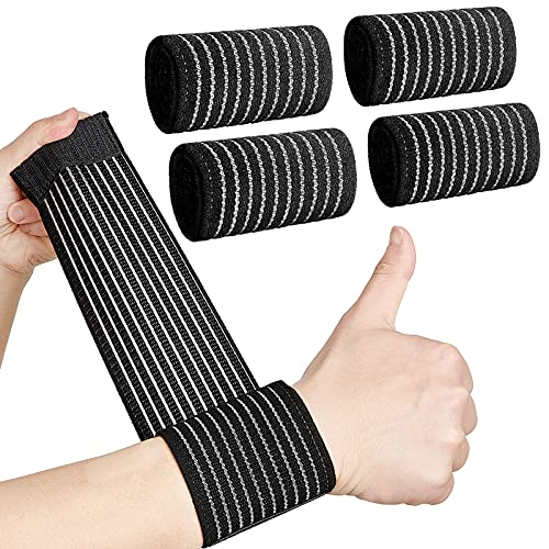 4 Pieces Carpal Tunnel Wrist Brace, Wrist Compression Strap, Hand Brace Wraps for Adult Working Out, Adjustable Wrist Strap, Breathable Wristband for Weightlifting, Tennis, Golf and Fitness, Black