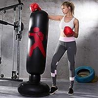 LONEEDY - Saco de boxeo hinchable de pie para adultos y adolescentes, para entrenamiento intenso, gimnasia, deportes, alivio del estrés, ., negro