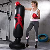 LONEEDY Inflatable Free Standing Punching Bag, Heavy Training Bag, Adults Teenage Fitness Sport Stress Relief Boxing Target (Black)