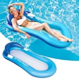 Swimming Pool Floating Hammock, Inflatable Floating Raft, Summer Swimming Pool Inflation Floating Bed Float Pool Lounge Floating Chair Float Recliner Water Toy for Men Women (Blue)