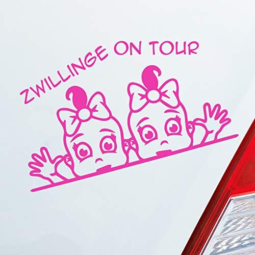 Auto Aufkleber in deiner Wunschfarbe Zwillinge on Board Baby Twins an Bord on Tour Mädchen Familie ca. 19 x 11 cm Autoaufkleber Sticker