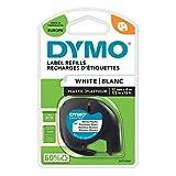DYMO LetraTag Etikettenband Authentisch | schwarz auf weiß | 12 mm x 4 m | selbstklebendes Kunststoffetiketten | für LetraTag-Etikettiergerät