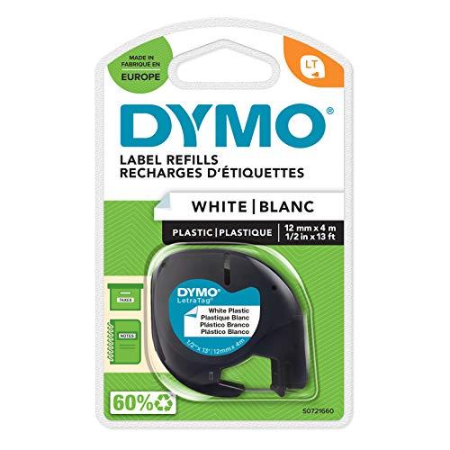 DYMO LT Etikettenband Authentisch | schwarz auf weiß | 12 mm x 4 m | selbstklebendes Kunststoffetiketten | für LetraTag-Beschriftungsgerät