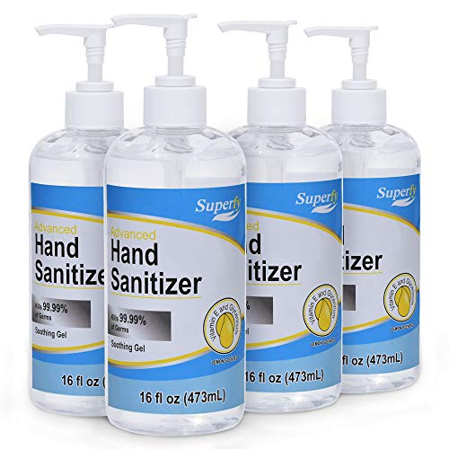 Superfy Hand Sanitizer, Moisturizing Gel Hand Wash with Pump,No-residue,Quick-drying 16 fl.oz (Pack of 4)