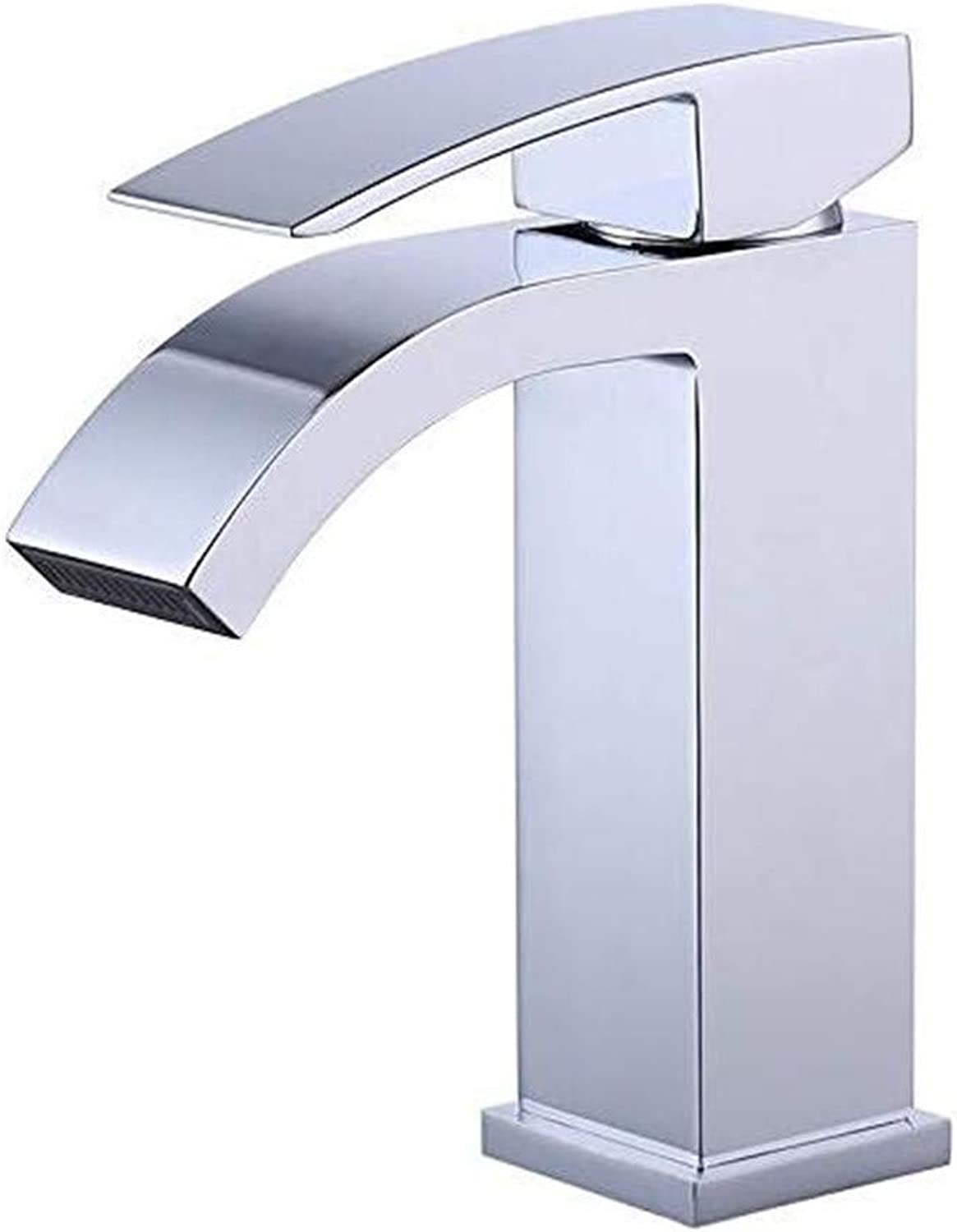 Oudan Faucet Basin Faucet Kitchen Faucetsingle Handle Waterfall Bathroom Vanity Sink Faucet with Extra Large Rectangular Spout Chrome (color   -, Size   -)