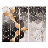 Cortinas deslizables set elisabeth fredriksson black and white golden geometry 5 paneles japoneses 250 x 300cm sin montaje