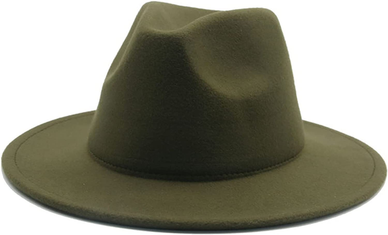 Fedora Hat Women Men Solid Classic Simple Wide Brim Felt Hats Vintage Wedding Formal Church Winter Women Hats