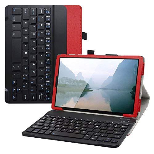LiuShan Lenovo Tab M10 HD Bluetooth Teclado Funda, Detachable Wireless Bluetooth Teclado PU Cuero con Soporte Caso para 10.1' Lenovo Tab M10 HD (2nd Gen) TB-X306X (Not Fit Tab M10 Plus),Rojo