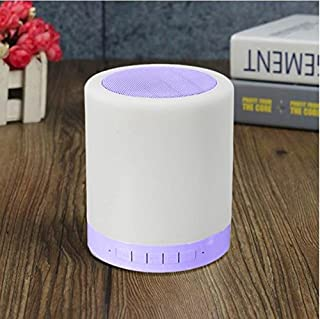Mini Wireless Bluetooth Speaker Music Box Colorful LED Night Light Lamp LED Table Lamp Touch Switch Night Lamps For Bedroom (Blue)