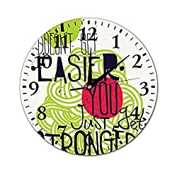 Mesllings Wall Clocks It Doesn't Get Easier, You Just Get Stronger Round Glass Wall Clock, Wall Decor Clocks for Kitchen, Office, Retro Hanging Clock, Home Decor Accessories
