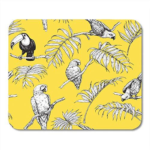 Gaming Mouse Pad Tropische Vögel Und Palmwedel Auf Orange Schwarz Weiß Bilder Von Papageien Tukan Sitzen Zweige Skizze Rechteck Maus Matte Rutschfeste Gummibasis Mousepads