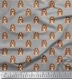 Soimoi Basset Hound Dog Print 58 Zoll breiter Rayon Viskose