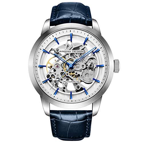 Pagani Design Reloj automático para Hombre, diseño de Esqueleto mecánico, Relojes de Pulsera de Cuero Impermeable