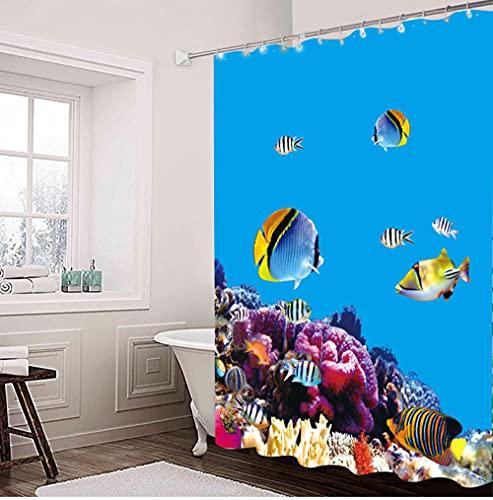 Duschvorhang 180x220 Königsblauer Meeresboden Shower Curtains Anti-Bakteriell Duschvorhang Antischimmel Waschbar Duschvorhänge Polyester mit 12 Duschvorhangringen Duschvorhang Grau