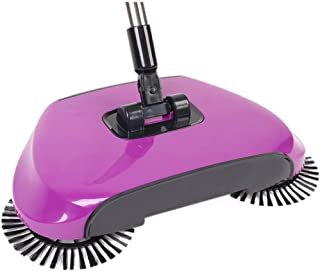 Household Sweeping Machine,Hand Push-Type Automatic Without Electricity Sweeper Broom Portable Cleaning Machine 3 in 1 Dustpan and Trash Bin (Purple)