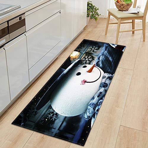 XIAOZHANG Bedroom Runner Mat Carpet White cute snowman Crystal velvet Floor Rugs Anti Skid Mats Living Room Bedroom Kitchen 60x90CM