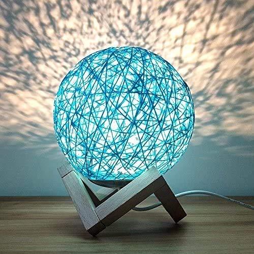 Luce notturna romantica Creativo Ins Vento Starry Lampada da tavolo Lampada Camera da letto Lampada da comodino Fantasy Rattan Ball Light Light (blu, interruttore a pulsante)