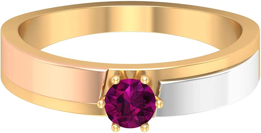 June Birthstone - Solitaire 4.00 MM Round Shaped Rhodolite Ring, Three Tone Ring, Gold Wedding Band Ring (AAA Quality), 14K Gold