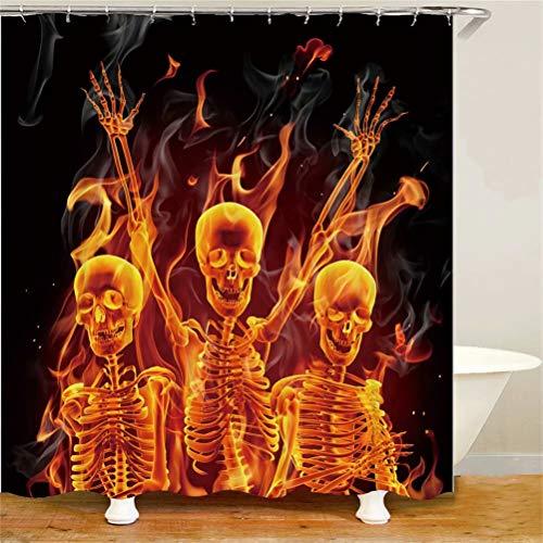 ZZZdz Menschliches Skelett des Karnevals. Duschvorhang: 180 X 180 cm. Wasserdichter Stoffteppich Für Duschvorhang. Bad Duschvorhang Set Polyesterfaser Bad Duschvorhang.
