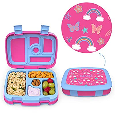 Bentgo Kids Prints Leak-Proof, 5-Compartment Bento-Style Kids Lunch Box - Ideal Portion Sizes for Ages 3 to 7 - BPA-Free and Food-Safe Materials - 2020 Collection - Rainbows and Butterflies