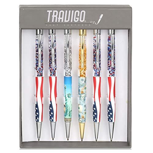 Travigo 6-Piece Twist-Action, American Themed Glitter Floating Flakes Ballpoint Pen Set, Makes a Perfect Gift Patriotism