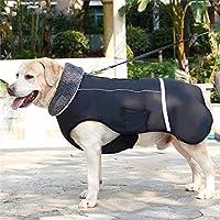 `Star Empty 犬服冬の防水屋外ペット犬のジャケット厚み付けが小中大犬のための調節可能なペット服3XLを犬のコートを温めます (Color : Black, Size : S)
