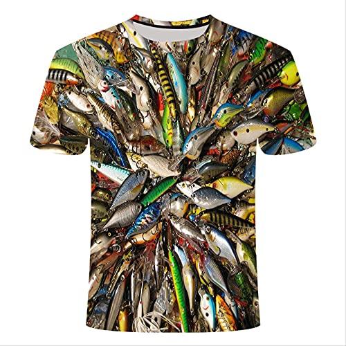 XSHUHANP Herren T-Shirts 3D Druck Lustige Geburtstagsgeschenke Geschenk Für Vater Fischer T-Shirt 3D Sea Thunfisch Gedruckt T-Shirt Männer Fischer Witz T-Shirt S