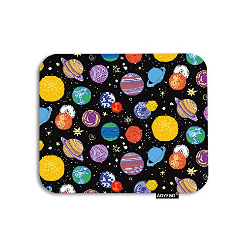 AOYEGO Planet Mouse Pad Universe Outer Space Planets Star Galaxy Gaming Mousepad Rubber Large Pad Non-Slip for Computer Laptop Office Work Desk 9.5x7.9 Inch