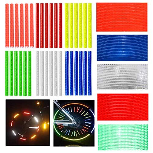QIMMU 36 Stück Reflektierende Speichensticks, 5 Blatt Reflektierende Felgenaufkleber,Fahrrad Speichenreflektoren für Fahrräder,Autos,Motorräder Reifen(6 Farben)