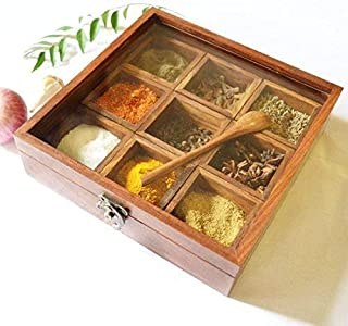 ThanksGiving and Christmas Gift The Indian Arts Masala box with Glass on Top & Spoon