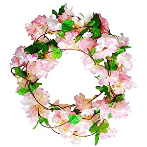 AirSun Artificial Cherry Blossom Vines, 2pcs 15Feet Hanging Plants Silk Garland Fake Cherry Flowers for Home Garden Wall Fence Indoor Outdoor Wedding Birthday Decor (Cherry)