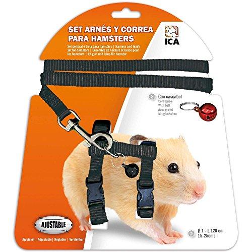 ICA DA978 Set mit Geschirr und Gurt für Hamster, Schwarz