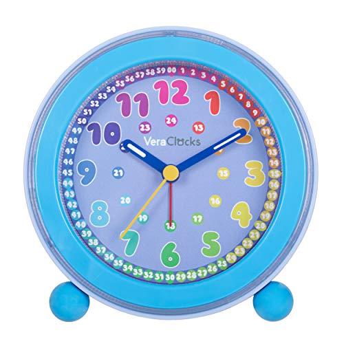 VeraClocks Kinderwecker ohne Ticken - für Jungen und Mädchen - Lernwecker Lernuhr Kinderuhr Weckuhr Quarzwecker LED Licht Farben Analog Snooze Quartz Wecker blau
