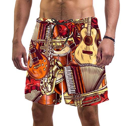 LORVIES Heren Muziekinstrumenten Gitaar Hoorn Violin Beach Board Shorts Snelle Droge Zwem Trunk,L