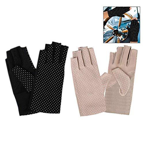 Xrten 2 Paar UV Shield Handschuh, Damen Sommer Halbfinger Handschuhe,Sonnen Block Fahren Handschuhe Fingerlose Handschuhe