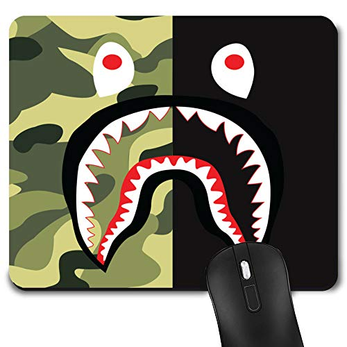 Gaming Mouse Pad Shark Green Camo, Game Computer Mousepad for Laptop and Desktop, Cute Funny Mouse Mat for Kid and Office Gift