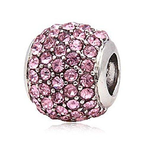 Andante-Stones Silber Pavé Bead Charm mit funkelnden Zirkoniasteinen (Rosa) Element Kugel für European Beads + Organzasäckchen