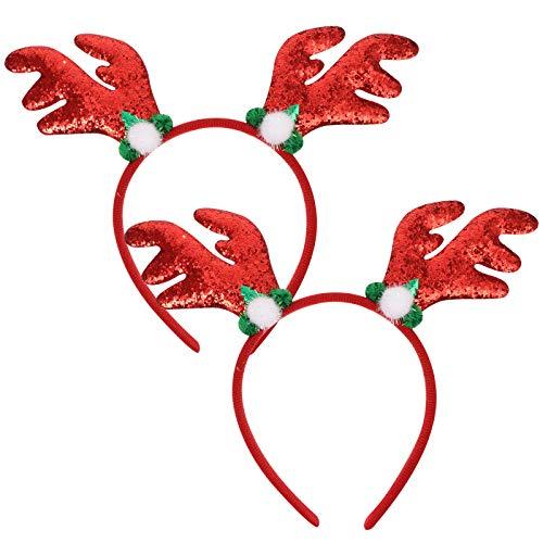 Lurrose 2pcs cierres de pelo de cornamenta de ciervo Navidad diademas para el pelo de Navidad