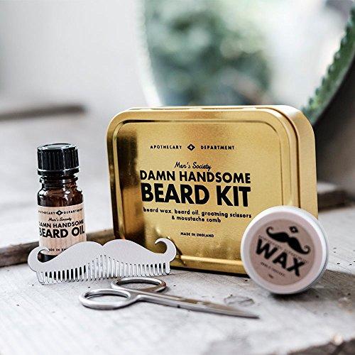 Kit d'entretien pour Barbe - Men's Society - 5 accessoires pour une barbe parfaite - Damn Handsome Beard Kit