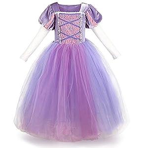 IWEMEK Sofia el Primer Traje de Princesa Rapunzel Disfraz Carnaval para Ninas Halloween Navidad Cumpleaños Cosplay Costume Vestido Largo de Fiesta de Baile de Tul Morado 3-4 Años