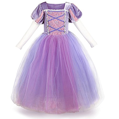 IWEMEK Mädchen Cosplay Kleid Rapunzel Prinzessin Kinder Grimms Karneval Tangled Märchen Partykleid Halloween Festival Geburtstag Fotoshooting Magie Faschingskostüm Festkleid Fancy Dress Up 5-6 Jahre