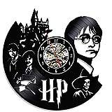 Mode Harry Potter vinilo y fabricado en placa pared Reloj koder Diseño Silencioso Quartz Movimiento Casa de Decoración 30 cm negro